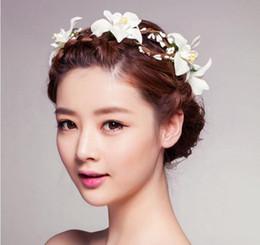 2016 novia de la boda accesorios para el cabello de las mujeres con las flores de la belleza de la guirnalda nupcial tocado de la venda de la playa Mar viajes al Accesorios para el cabello