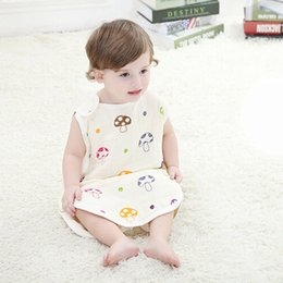 Wholesale Swaddle Baby Sleeping Bag Summer Sleepsacks Sleeping Bags Swaddling Newborn Cotton Blanket Cartoon Mushroom Vest Infant Pajamas Beige Cute