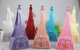 Wholesale Wedding Favor boxes candy box navy blue Eiffel Tower chocolate box for wedding boxes shipping free