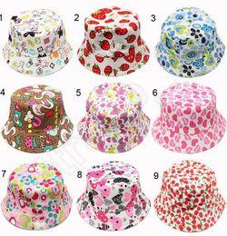 Wholesale Kids Floral Fisherman Sun Hats Children fashion Visor Ball Cap Bucket Hats Girl Boy Summer Beach Sunhat QQA164