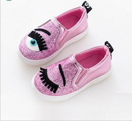 Children shoes fashion Autumn Cartoon eye Shoes girl sneaker Sequins princess party with flat Shoes kids trainers for girls online