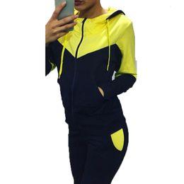 Wholesale 2016 Brand Tracksuit Women Sport Suit Patchwork Hoodie Sweatshirt Pant Sweat Suits Female Jogging Femme Sportsuite For Women