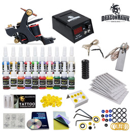 Wholesale Tattoo Kit Handmade Guns Power Supply Set Grips color Ink Needles HW TD
