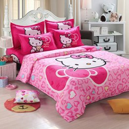 wholesale unihome home textiles children cartoon hello kitty kids bedding set include duvet cover bed sheet pillowcase - Kid Sheets
