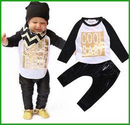 Wholesale Baby boy clothes antumn kids clothes sets t shirt pants suit clothing set baby cool Printed Clothes newborn sport suits