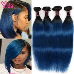 Discount ombre two tone color virgin hair Ombre Brazilian Straight Two Tone Human Hair 1B blue 4 pcs Top Quality Original Ombre Brazilian Virgin Hair Straight Hair 400g lot