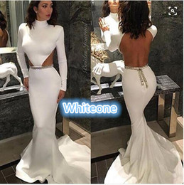Wholesale Kim Kardashian White Open Back Evening Dresses mermaid Style Cut Out Design Simple Long Prom Gowns for Formal Pageant Celebrity Wear Sale