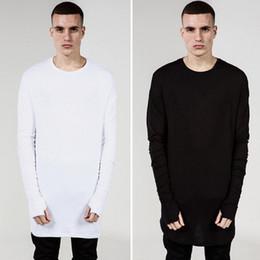 Wholesale 2016 Men s T shirt Tyga Kanye West Cool Oversized T shirts Tee White Black Gray Long Sleeve Swag Long Tees Top Plus Size LGF0425
