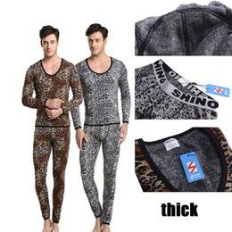 Wholesale Shino Cotton Men Thermal Set Underwear Wild Leopard Print Suit Keep Warming Long Johns Pants Long Shirt Winter Sleepwear M XL