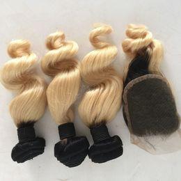 2017 ombre brazilian loose wave closure 1B 613 Blonde Dark Root Ombre Brazilian Loose Wave Wavy Human Hair Extensions 3 Bundles With 4*4 Lace Top Closure 4Pcs Lot discount ombre brazilian loose wave closure