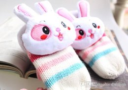 Wholesale 2015 bestseller Stereoscopic Cute Cartoon Rabbit Head Bestsellers Fashion Color Stripes Hanging Neck Double Knit Gloves Warm Gloves