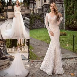 Wholesale 2016 Full Lace Wedding Dresses Mermaid Long Sleeves Bridal Gowns Sheer V Neck Peplum Backless Wedding Gowns with Detachable Skirt