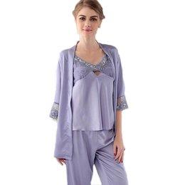 Discount Purple Silk Pajamas For Women   2017 Purple Silk Pajamas ...