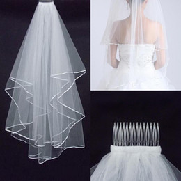 Wholesale Cheap Two Layers Wedding Veils with Tomb White Ivory Satin Edge Satin Edge Two Layer Wedding Accessory Bridal Veils