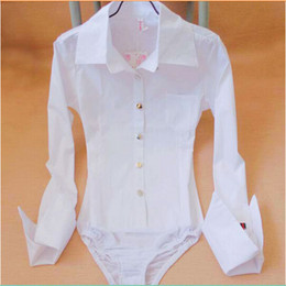 Wholesale Women New Style Pocket Pointed Cuff Bodysuit Blouse Ladies Career Slim Long Sleeve Button Down White Shirts Tops Cloth
