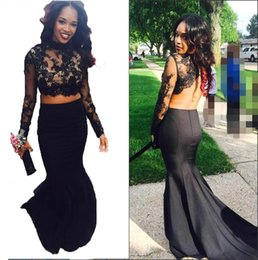Wholesale 2016 Spring New Evening Dressess Black Mermaid Illusion Long Sleeves Evening Dress Beaded Lace Appliques Feather Peplum Prom Party Gowns