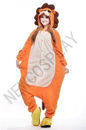 Wholesale Fashion Polar Fleece Unisex Adult Onesie Cosplay Costume Lion Animal Pajamas Sleepwear For Men Women S M L XL Yellow NEWCOSPLAY