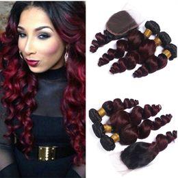 Discount ombre weaves closure Burgundy Ombre Peruvian Hair With Closure 1B 99J Peruvian Loose Wave With Closure Wine Red Human Hair 3 Bundles With Closure