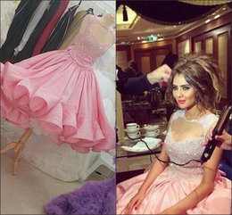 Wholesale 2016 Bling Pink Short Prom Dresses For Teens Taffeta puffy Evening Party Dress Plus Size Sequined Beaded Cocktail Dresses Knee Length Custom