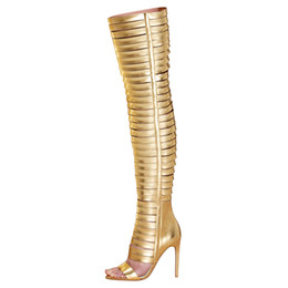 Gold Thigh Boots Online | Thigh High Gold Boots for Sale