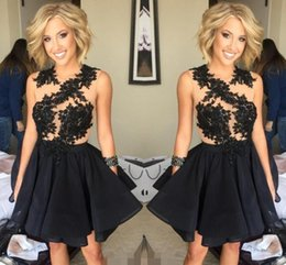 Wholesale 2017 Princess th Grade Graduation Dresses Beaded Ball Gown Short Mini Homecoming Dress Little Black Cocktail Party Gowns Juniors Sweet