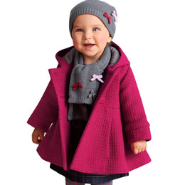 Wholesale 2016 Infant Baby Girl Winter Coats Warm Hooded Overcoat Pink Red Kids Beautiful Jacket Thick Woolen Blend Children Winter Clothing
