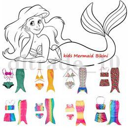 Costumes Mermaid Bikini 3PCS / set meninas miúdos Cauda da sereia swimmable Bikini Set Swimwear Swimsuit Natação HHA