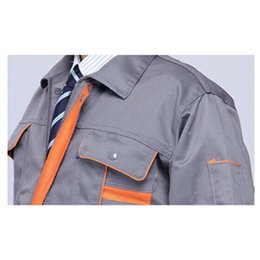 Wholesale Long Sleeve Work Clothes Suit Man Uniforms Overalls Superior Fabric Five Size Grey and Orange Color Long Sleeve Safety Protective Overalls