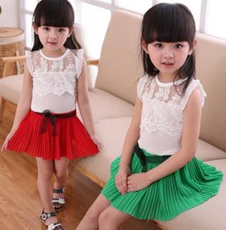 Wholesale Fashion children girl Pleated Skirts Tops Tees kids piece Clothing Sets party outfit suit T shirt short dress Y Y colorful gift