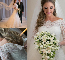 Wholesale 2016 Vestidos De Noiva Spring Romantic Applique Lace Wedding Dresses Vintage Long Sleeves A Line Bridal Gown Beach Wedding Gowns Robe BO5656