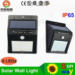 Solar Powered Waterproof IP65 LED Outdoor Lighting Wall Lamp PIR Motion  Sensor 6 White LEDs Street Light Wall Garden Lamp DHL Free Shipping Cheap  Outdoor ...