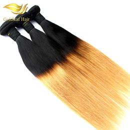 2017 ombre two tone color virgin hair Goldleaf Wholesale Two Tone Ombre Hair Straight Human Hair Weaving T1B 27 Ombre Brazilian Peruvian Malaysian Indian Human Hair Weaving ombre two tone color virgin hair for sale