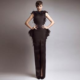 Wholesale New Glamorous Brown Bateau Keyhole Back Slit Peplum Feather Evening Dresses Evening Gowns