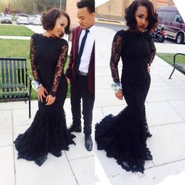 online shopping 2016 Custom Made Boat Neck Long Sleeve Mermaid Prom Dresses Sexy Black Lace Zuhair Murad Evening Party Gowns Cheap Fitted Plus Size Style
