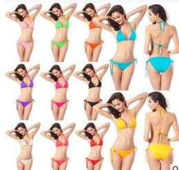 Wholesale 2016 New Women Swimming Suit Sexy Bikini Triangle Swimwear Plus Size Bikinis Bathing Suit Spa Bikini Candy Colors Underwear