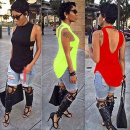 Wholesale 2016 Summer Fashion Color Sexy Club Sleeveless Backless Tshirts Women Tees t shirts blouses shirts