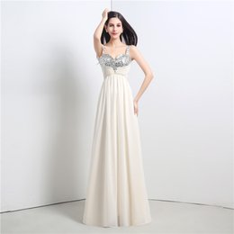 Wholesale Hot Sale Flowing Chiffon Long Prom Dresses Sleeveless Lace up Back Sequin Formal Gowns Dresses Party Evening Cheap In Stock FW0003