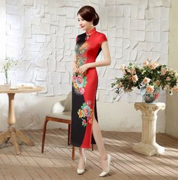 Wholesale Spring and summer fashion improved Chinese silk long section cheongsam banquet performances daily cheongsam dress ceremonial clothing hotel