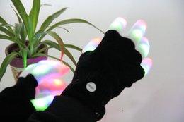 Мигающий свет Fingertip 7 Режим светодиодный перчатки Рукавицы костюмы Rave партии Катание на лошадях Finger Light перчатки для партии Event 60 пар