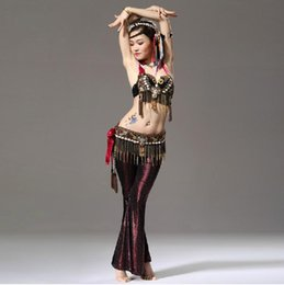 Wholesale Performance Women Dance Wear Set Clothes Beads Bra Belt with Gold Chain Tribal Print Pants Tribal Belly Dance Costume