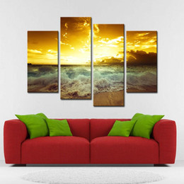 4 Picture Combination Wall Art Modern Sea Wave Seascape Of Painting Is Print On Canvas For Decorating Hotel Home Office Cheap Home Decorating Painting Walls
