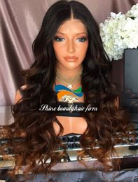 2017 ombre two tone color virgin hair Wholesale Premium Two Tone Black Brown Ombre Silk Top Glueless Full Lace Wigs 150% Density Brazilian Virgin Hair Long Wavy Lace Front Wigs inexpensive ombre two tone color virgin hair