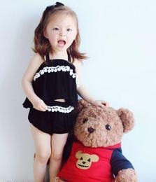 Discount baby black shirts 2016 Summer Infant Baby Set Kids Ball Tassels Halter Crop Tops Tee Sun-top T Shirt + PP Shorts Children 2pcs Outfits Clothing Suit Black