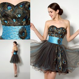 Wholesale Customize Made Hot Selling Sweetheart Short Prom Dresses Mini Peacock Embroidery Organza Homecoming Dresses Cheaper Cocktail Party Dres