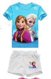 Wholesale 2016 Hot Cut summer frozen Elsa Anna girls baby clothing sets blue pink cosplay two pieces shorts and T shirt Epacket b0029