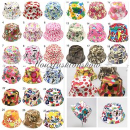 Wholesale Hot Bucket sun hat for kids Children Floral Hats colors baby girls fashion Grass Fisherman Straw hat W08