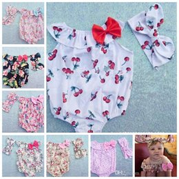 Wholesale Baby Rompers Headbands set Toddler baby girls Clothing Set Cut summer Kids Jumpsuit baby crawling clothes baby romper