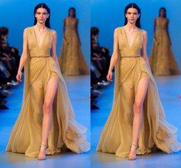 Wholesale Elegant Deep V Neck Evening Dresses Valentino Elie Saab Side Split Sweep Train Sash Simple Party Pageant Dresses Gown Formal Gowns