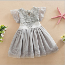 Wholesale 2016 New Lovely Girl Lace Cotton Princess Dress Children Summer Lace Gauze Dresses Kids Clothing Baby Girl Tutu Skirt cm