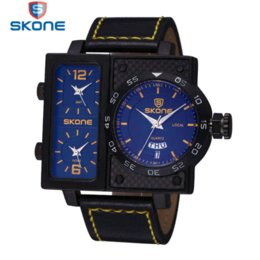 casual men big face watches online casual men big face watches skone brand leather strap watch time zone date week big face square dial sport watches men